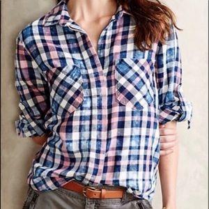 Anthropologie Cloth&Stone pink blue plaid flannel